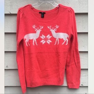 H&M Coral Holiday Sweater, Size M